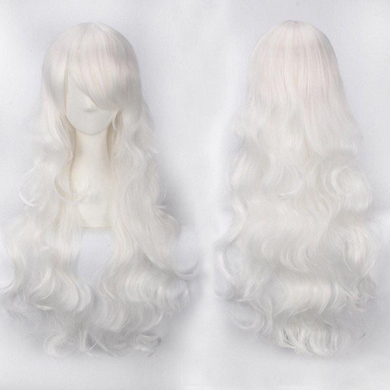 Ultra Long Inclined Bang Fluffy Curly Synthetic Party Wig - PURE WHITE