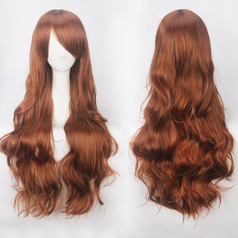 Ultra Long Inclined Bang Fluffy Curly Synthetic Party Wig - FLAX BROWN