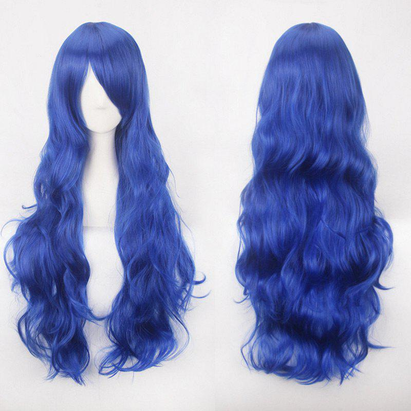 Ultra Long Inclined Bang Fluffy Curly Synthetic Party Wig - CERULEAN