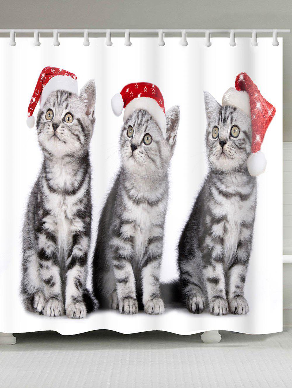Three Christmas Cats Patterned Bath Shower Curtain merry christmas printed bath waterproof shower curtain