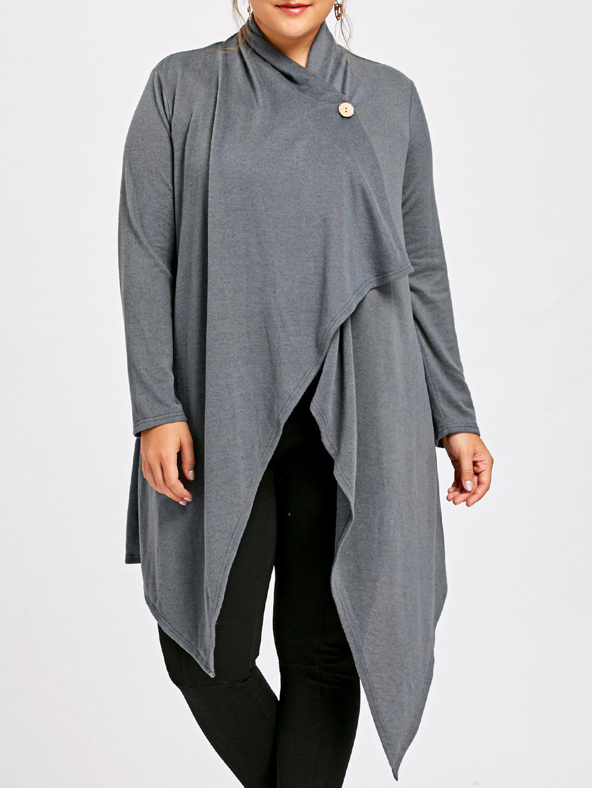 Plus Size One Button Asymmetric Cardigan - GRAY XL
