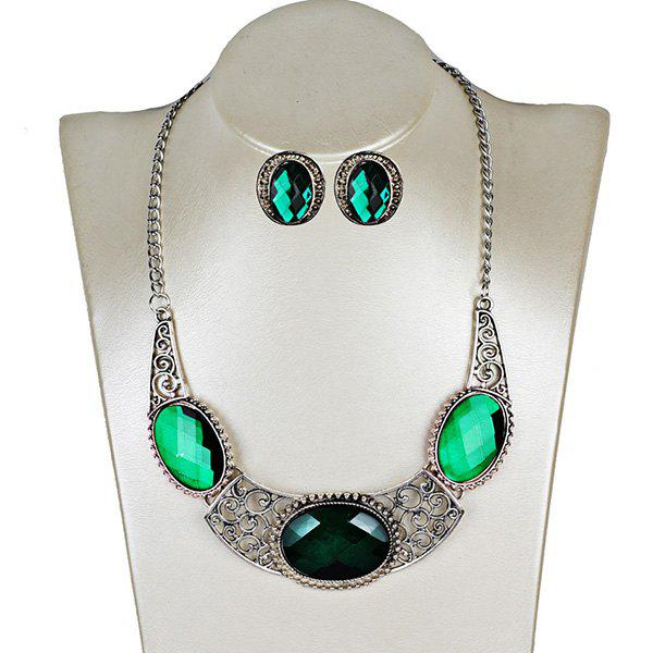 Faux Gemstone Oval Necklace and Earring Set - GREEN