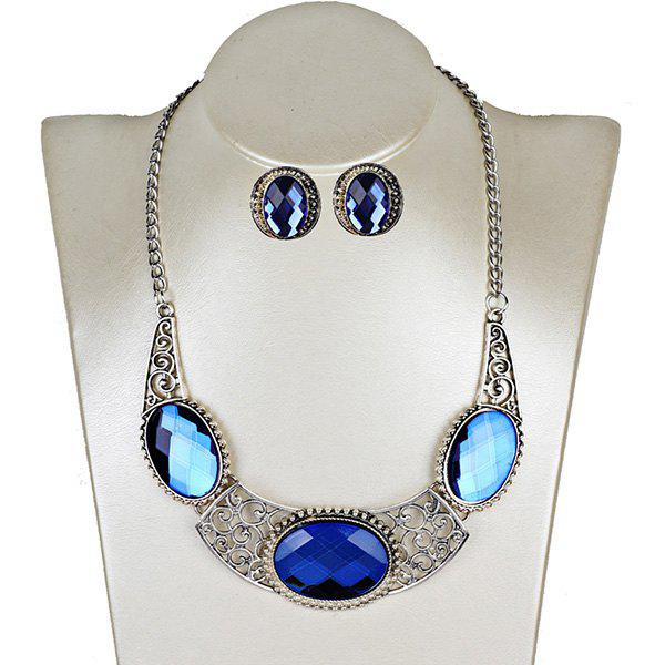 Faux Gemstone Oval Necklace and Earring Set - BLUE