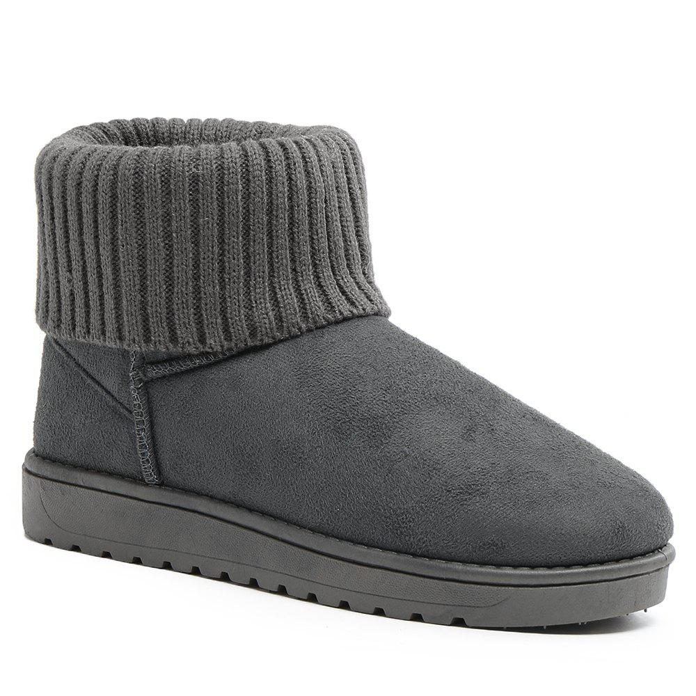Ankle Knitted Fold Over Snow Boots - GRAY 39