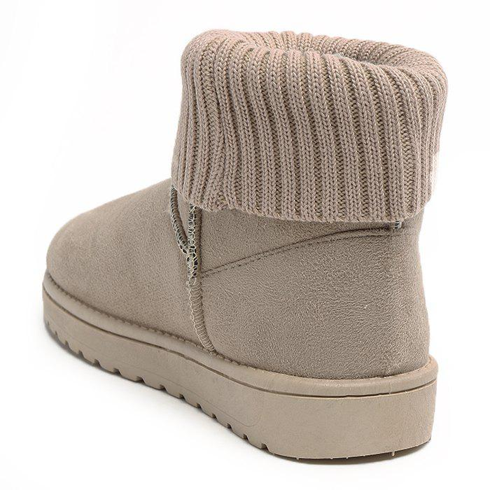 Ankle Knitted Fold Over Snow Boots - APRICOT 36