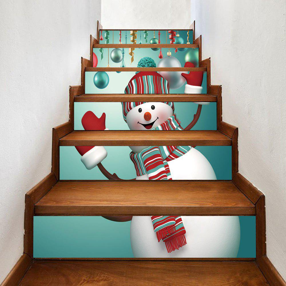 Christmas Snowman Baubles Pattern Stair Stickers christmas snowman pattern door stickers
