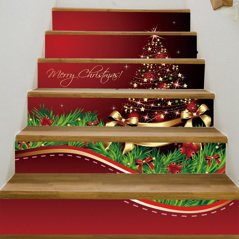 Christmas Star Tree Pattern Stair Stickers - COLORMIX 100*18CM*6PCS