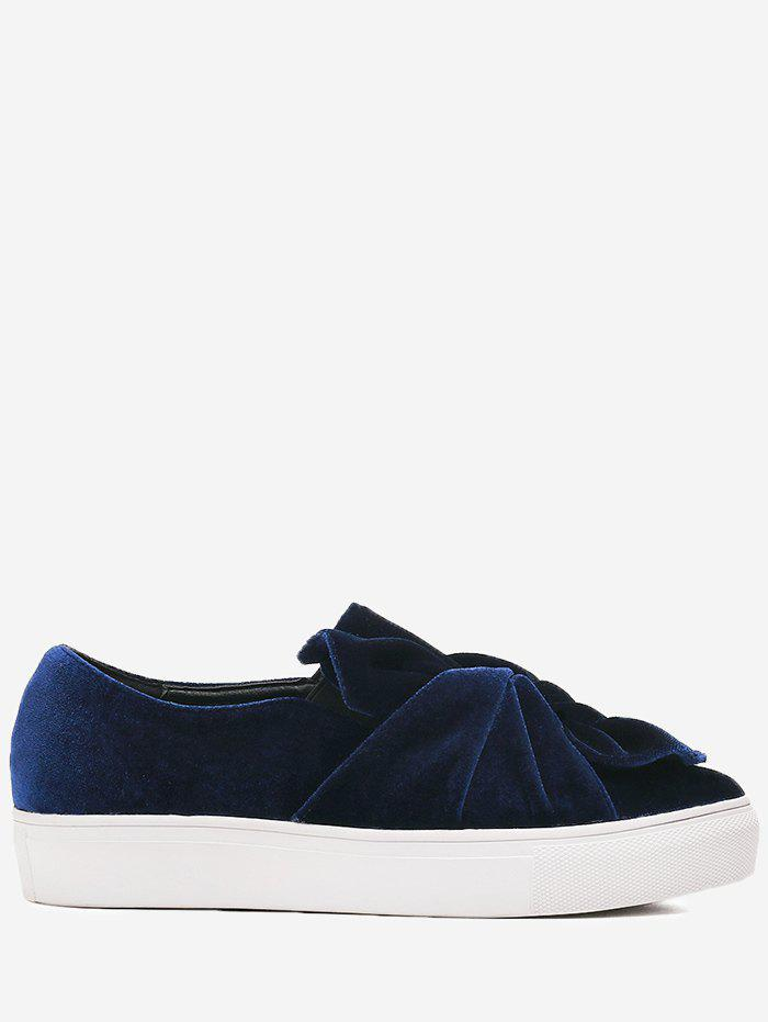 Platform Cross Twist Front Slip On Shoes - BLUE 38