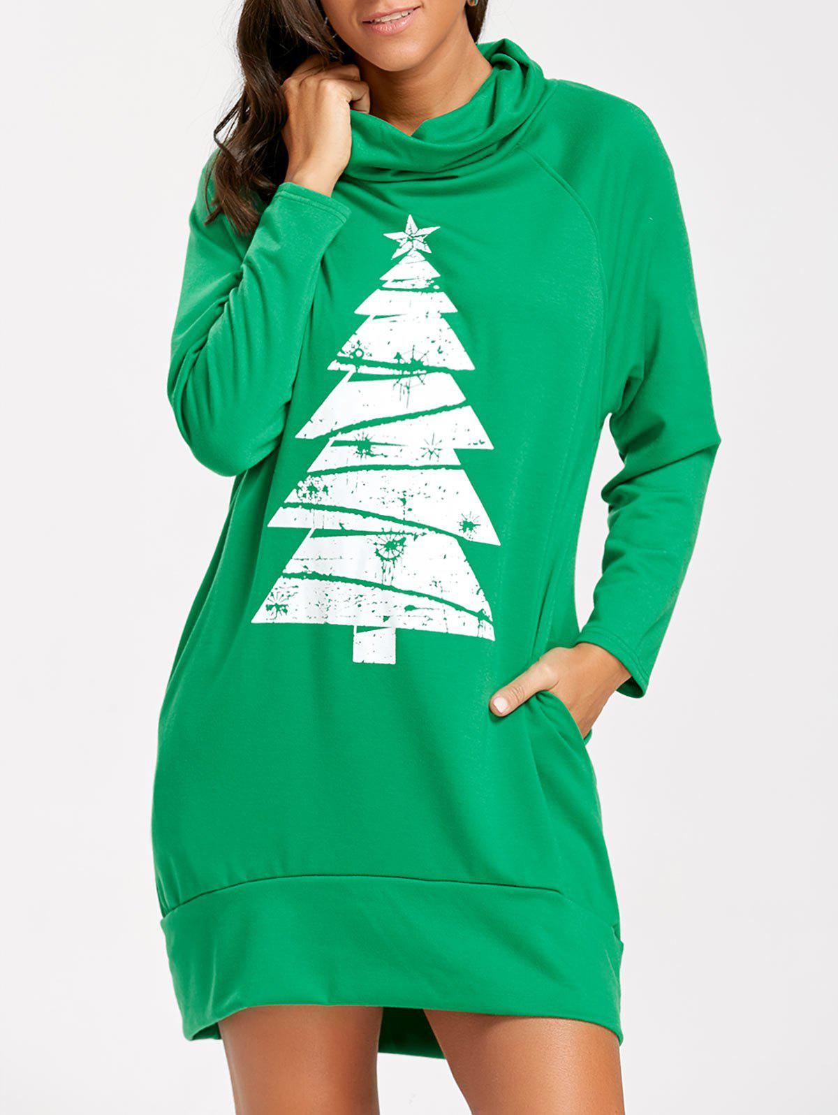 Tree Print Raglan Sleeve Christmas Sweatshirt Dress tree print raglan sleeve christmas sweatshirt dress