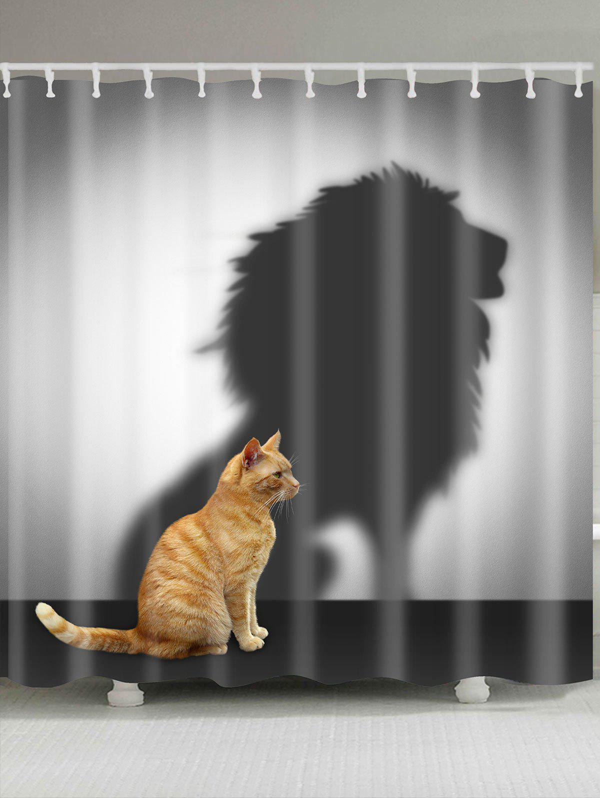 2018 Lion Shadow And Cat Pattern Bath Curtain Gray W Inch