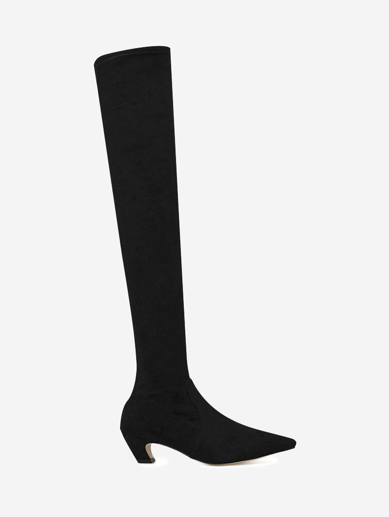 Back Zip Suede Stretch Over the Knee Boots nasipal 2017 new women pu sexy fashion over the knee boots sexy thin high heel boots platform woman shoes big size 34 43 g804