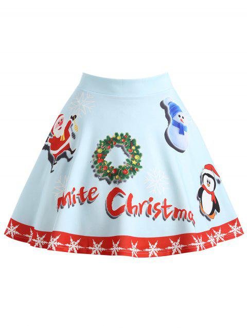 Christmas Santa Claus Snowman Garland Plus Size Skirt - LIGHT BLUE 2XL