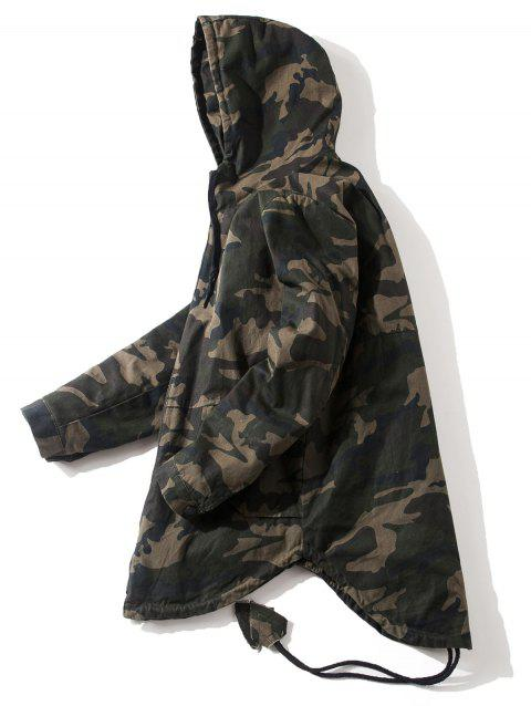 Drawstring High Low Hem Hooded Camouflage Jacket - CAMOUFLAGE 2XL