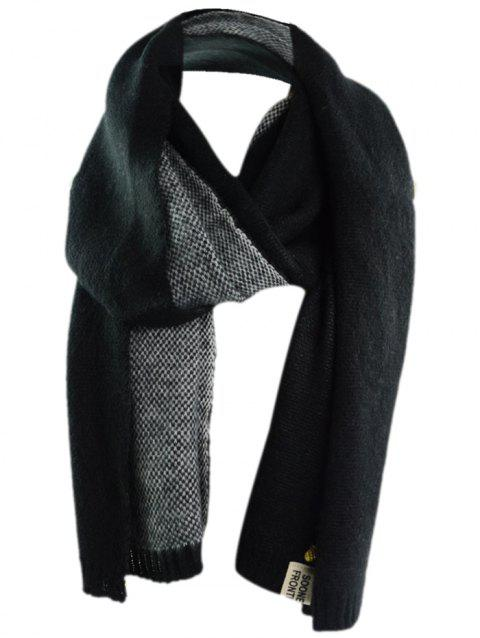 Outdoor Pineapple Decorated Faux Wool Long Scarf - BLACK ONE SIZE