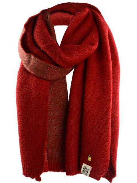 Outdoor Pineapple Decorated Faux Wool Long Scarf - BRIGHT RED ONE SIZE
