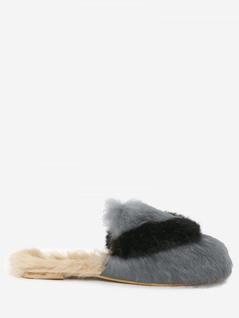 Closed Toe Fuzzy Outdoor Indoor Slippers - GRAY 36