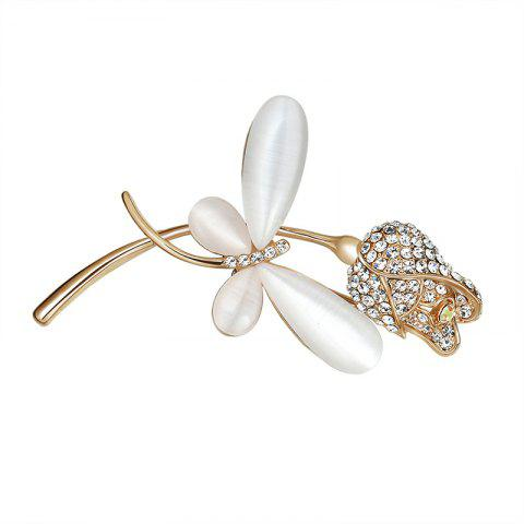 Broche papillon floral strass - Or