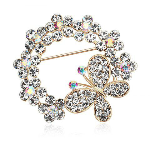 Rhinestone Butterfly Circle Brooch - GOLDEN