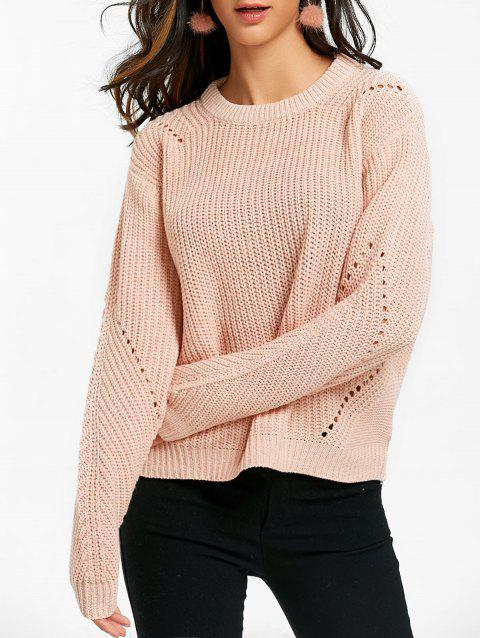 Hollow Out Crew Neck Chunky Sweater - APRICOT ONE SIZE