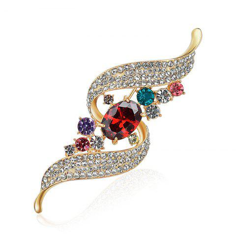 Rhinestone Faux Gem Ribbon Brooch - GOLDEN