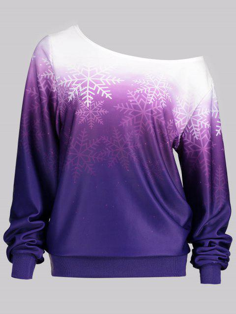 Skew Neck Snowflake Print Ombre Sweatshirt - PURPLE 2XL
