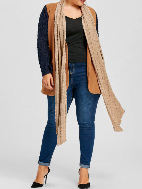 Plus Size Shawl Collar Cable Knit Coat - CAMEL 2XL