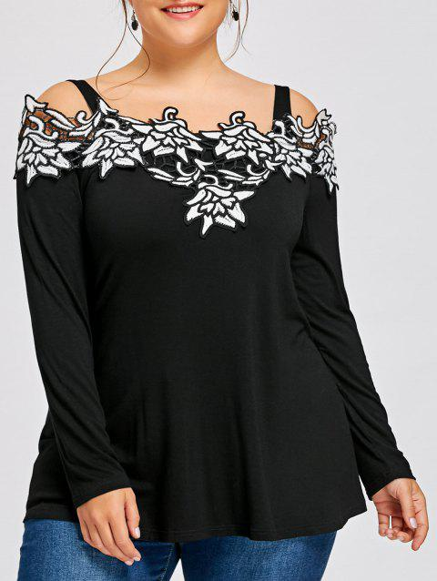 Plus Size Long Sleeve Embroidered Cold Shoulder T-shirt - BLACK 2XL