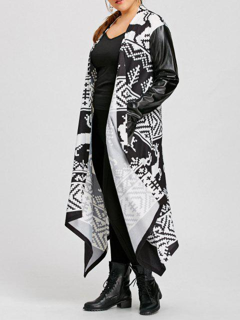 Christmas Print PU Insert Plus Size Maxi Coat - WHITE/BLACK 2XL