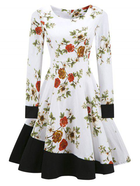Vintage Color Block Floral Fit and Flare Dress - WHITE S