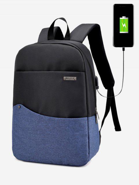 Color Block Rivet USB Charging Port Backpack - BLUE