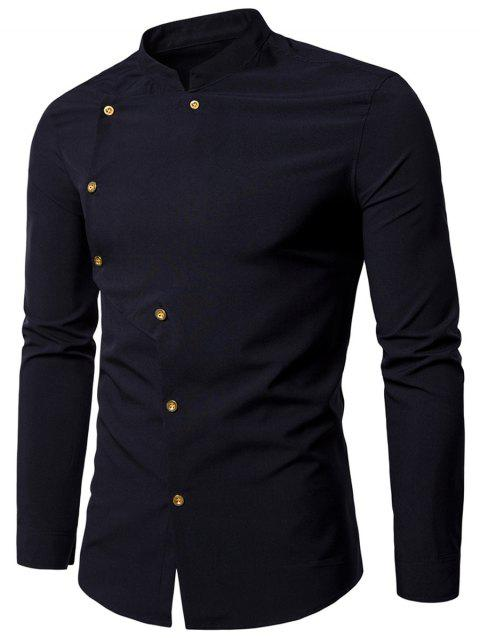 Asymmetrical Button Up Grandad Collar Shirt - BLACK XL