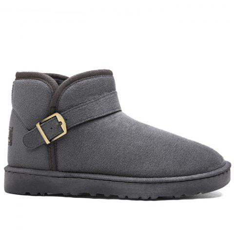 Low Heel Buckle Strap Snow Boots - GRAY 41