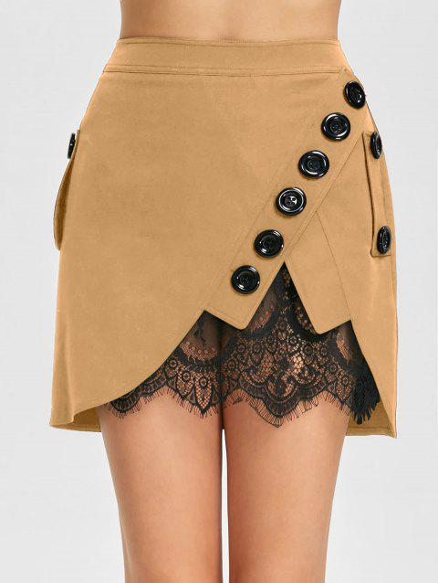 Lace Trim Button Embellished Mini Skirt - KHAKI 2XL