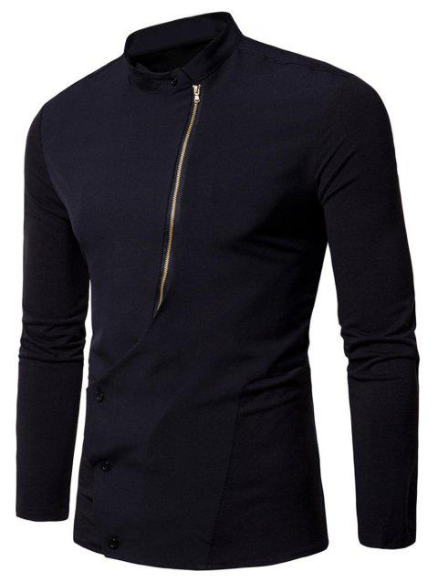 Mandarin Collar Button and Zipper Shirt - BLACK L