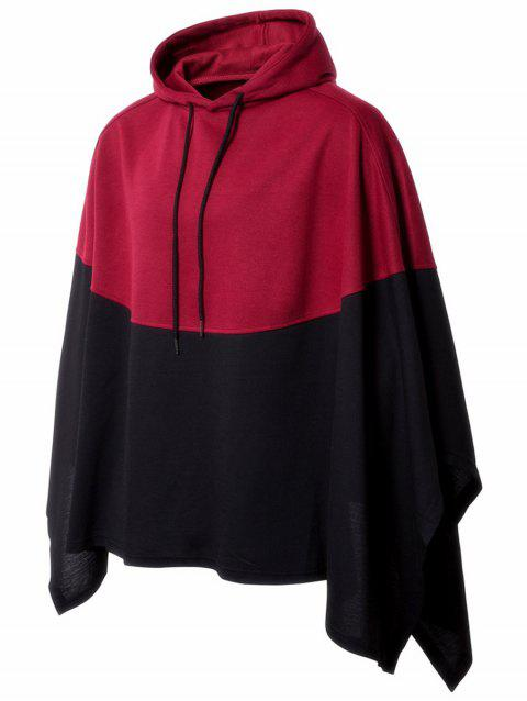 Asymmetrical Hooded Two Tone Pullover Handkerchief Cape - RED M