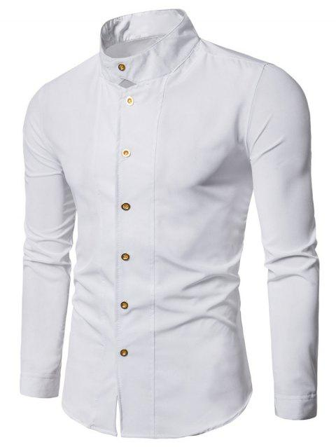 Casual Long Sleeve Stand Collar Shirt - WHITE L