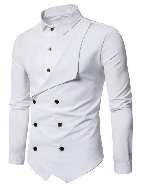 Long Sleeve Layered Double Breasted Shirt - WHITE XL