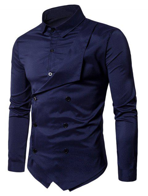 Long Sleeve Layered Double Breasted Shirt - PURPLISH BLUE M