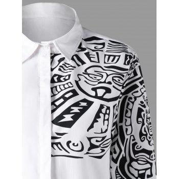 Ethnic Totem Pattern Turn Down Collar Shirt - WHITE L