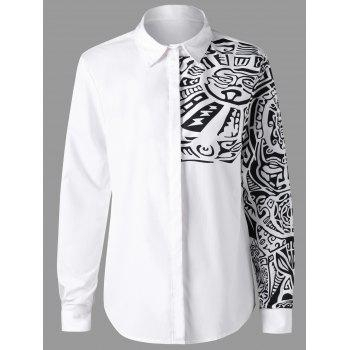 Ethnic Totem Pattern Turn Down Collar Shirt - WHITE WHITE