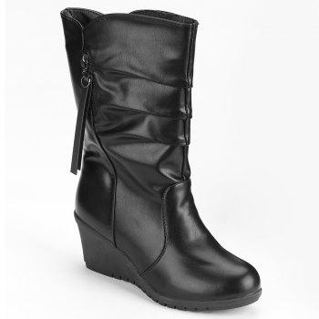 Faux Leather Wedge Heel Ruched Mid Calf Boots - BLACK 38