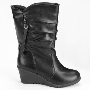 Faux Leather Wedge Heel Ruched Mid Calf Boots - BLACK 39