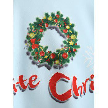 Christmas Santa Claus Snowman Garland Plus Size Skirt - LIGHT BLUE XL