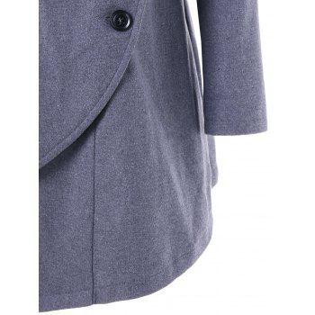 High Low Oblique Button Tunic Wool Coat - GRAY XL