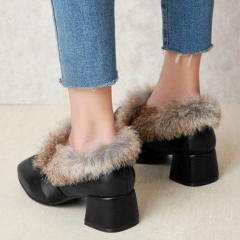 Bow Splicing Glitter Fur Ankle Boots - BLACK 39