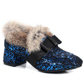 Bow Splicing Glitter Fur Ankle Boots - BLUE AND BLACK BLUE/BLACK