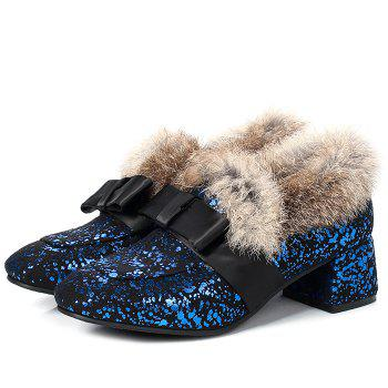 Bow Splicing Glitter Fur Ankle Boots - BLUE/BLACK BLUE/BLACK