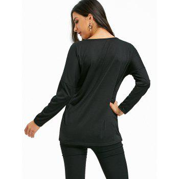 Christmas Sequin Elk Drop Shoulder T-shirt - BLACK L