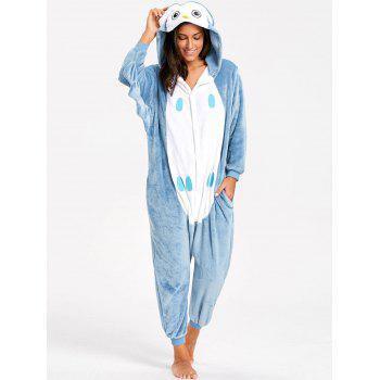 Adult Owl Animal Onesie Pajama - BLUE GRAY M