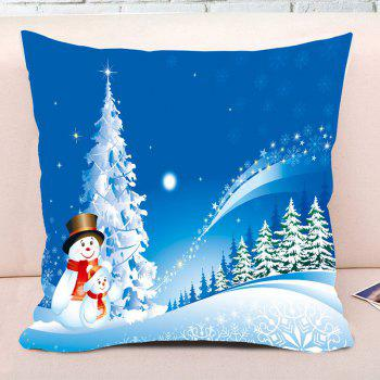 Father and Child Snowman Print Christmas Decorative Pillow Case - BLUE W17.5 INCH * L17.5 INCH